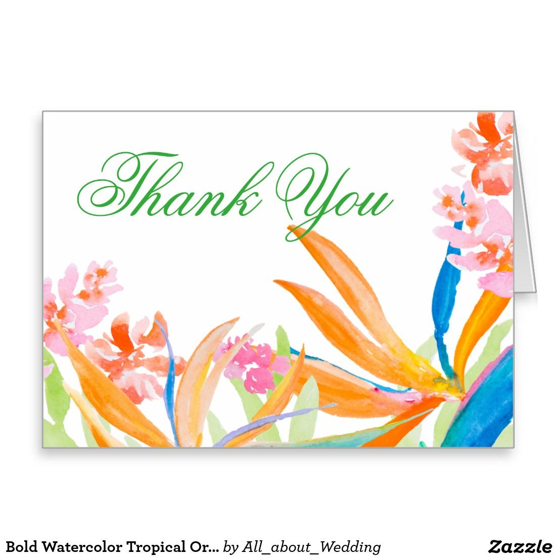 Bold Watercolor Tropical Ornage Flower Thank You Card  DIY Wedding
