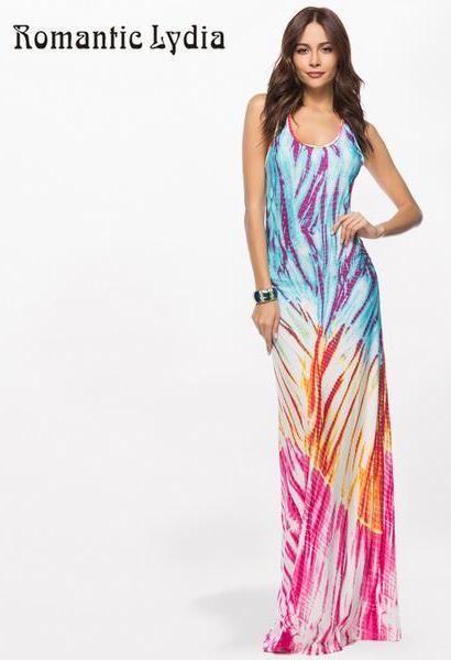 1646b11a3b587 Bohemian Floor Length Dress Women Long Summer Beach Dresses Boho ...