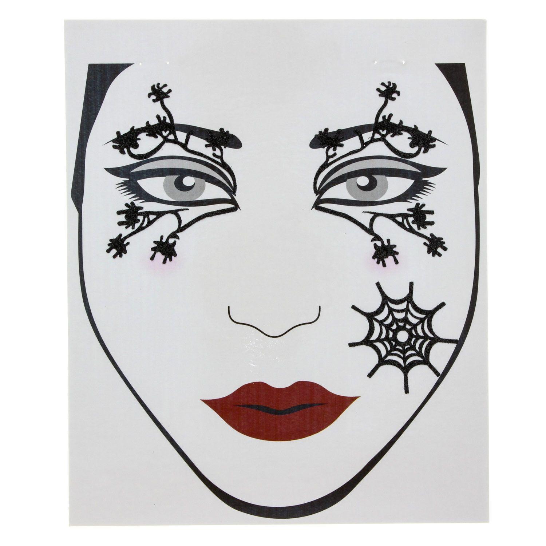 set de tatouages araign es pour le visage maquillage d 39 halloween araign e rouge sorci re. Black Bedroom Furniture Sets. Home Design Ideas