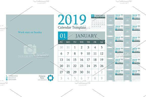 Calendar template design 2019 Calendar Templates Pinterest