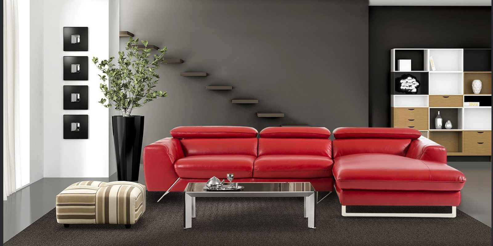 Ultra Modern Lhs Two Sofa With Lounger