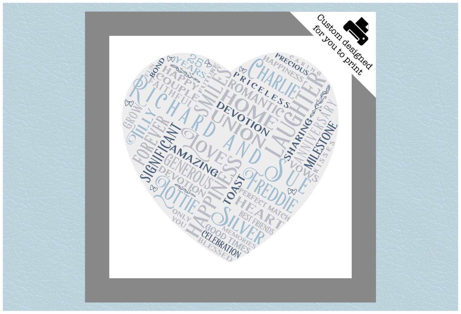 silver anniversary gift personalised word art 1st 10 50 25th
