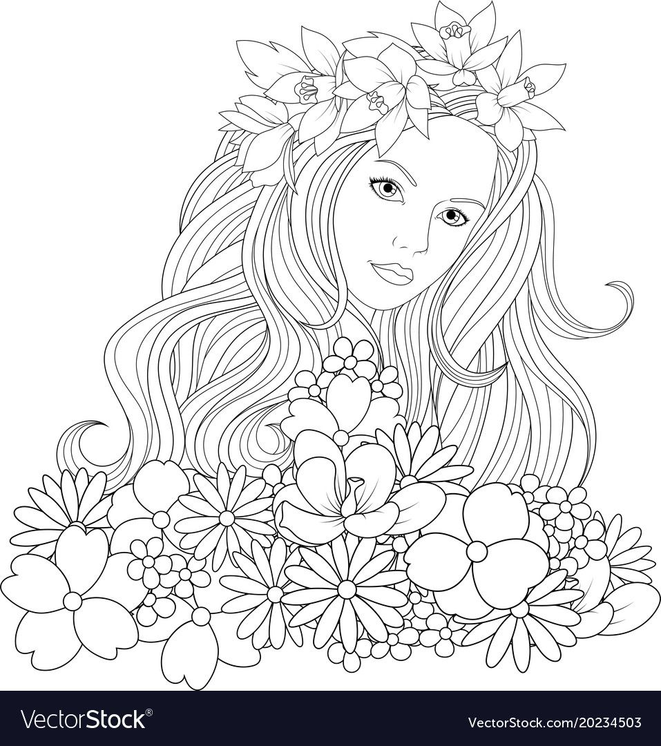 Vector illustration, beautiful girl coloring, on white