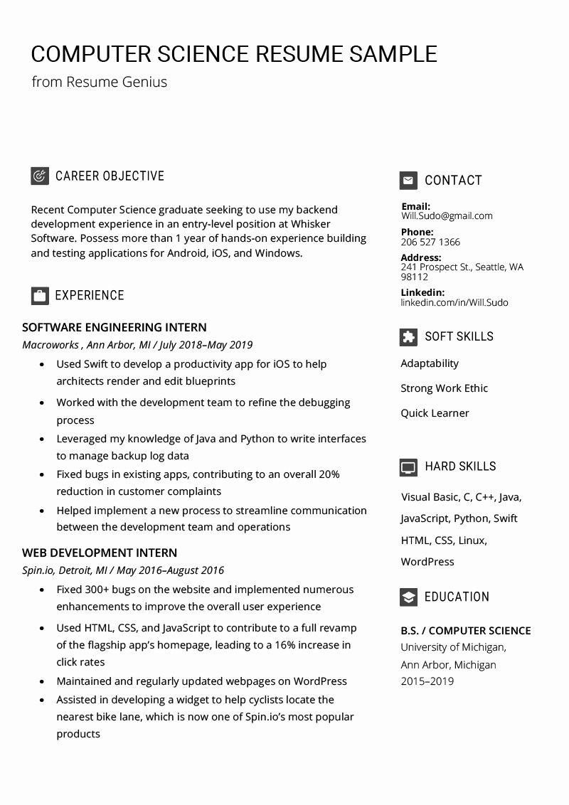 Computer Science Resume Example Unique Puter Science Resume Sample Writing Tips Computer Science Science Student Resume Examples