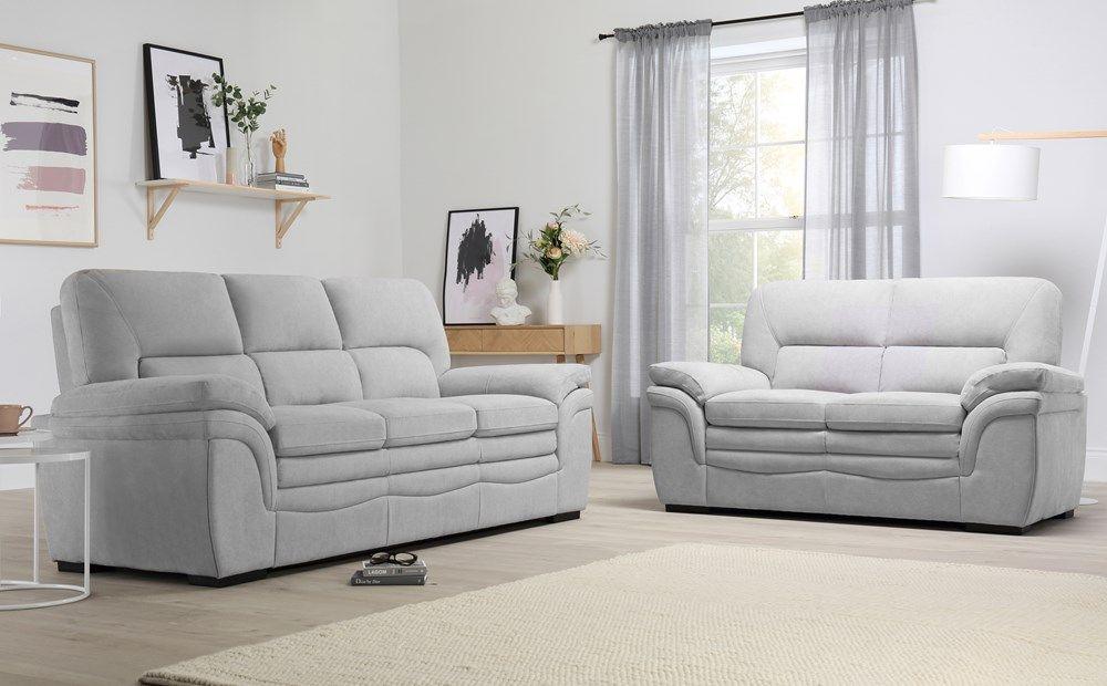 Sutton Dove Grey Plush Fabric 3 2 Seater Sofa Set Furniture