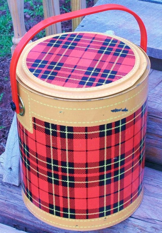 """My Mom's parents had everything in this set.  When """"Pop"""" brought out the 'Skotch Cooler' - you knew a camping trip was imminent.  Even though they're outdated, I'd still love to have a full set of their gear.  Picnic Cooler Plaid Red Black Metal Hamilton by RibbonsAndRetro, $35.00"""
