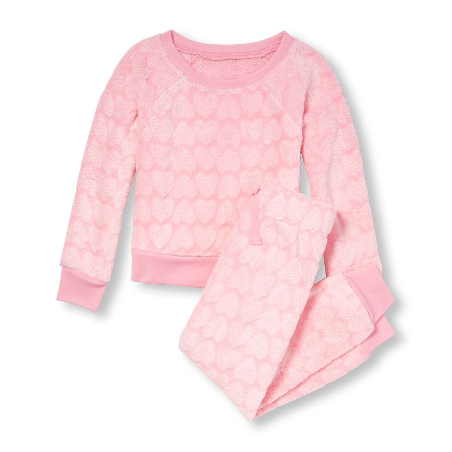 Girls Long Sleeve Textured Heart Print And Pants Cozy PJ Set