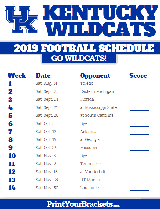 photograph relating to Michigan Football Schedule Printable identify 2019 Kentucky Wildcats Soccer Agenda Printable College or university