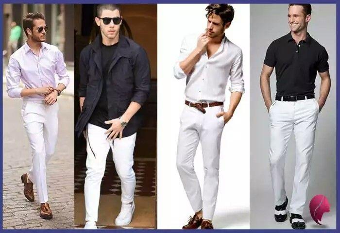 Pantalón blanco hombre casual