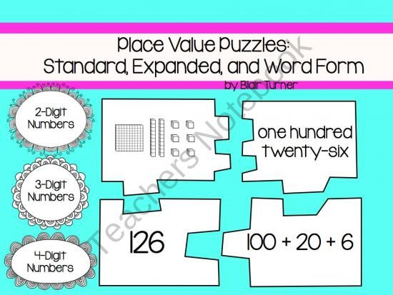 Place Value Puzzles Standard Expanded And Word Form Product From