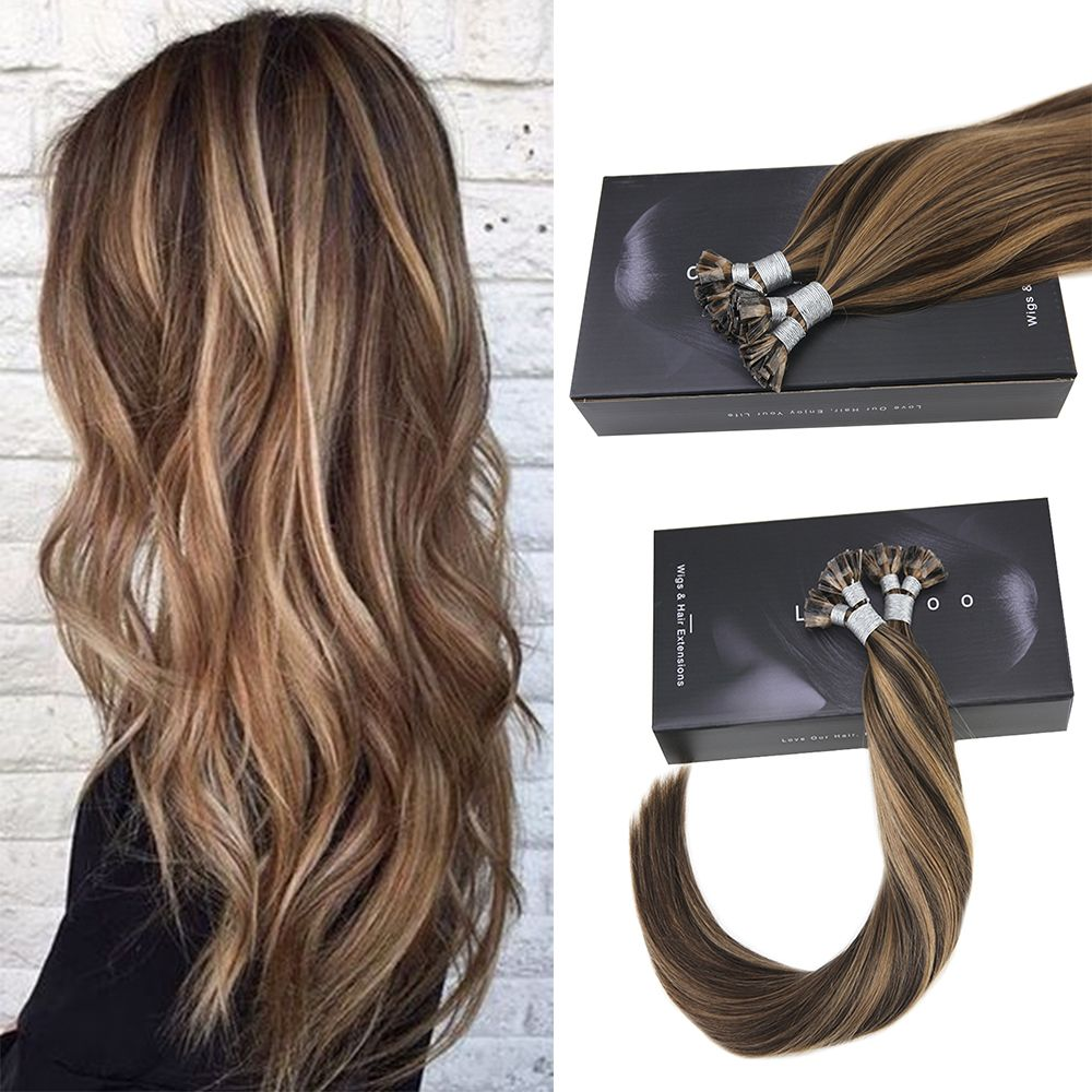 Highlights Dark Brown To Caramel Blonde Remy Flat Tip Human Hair