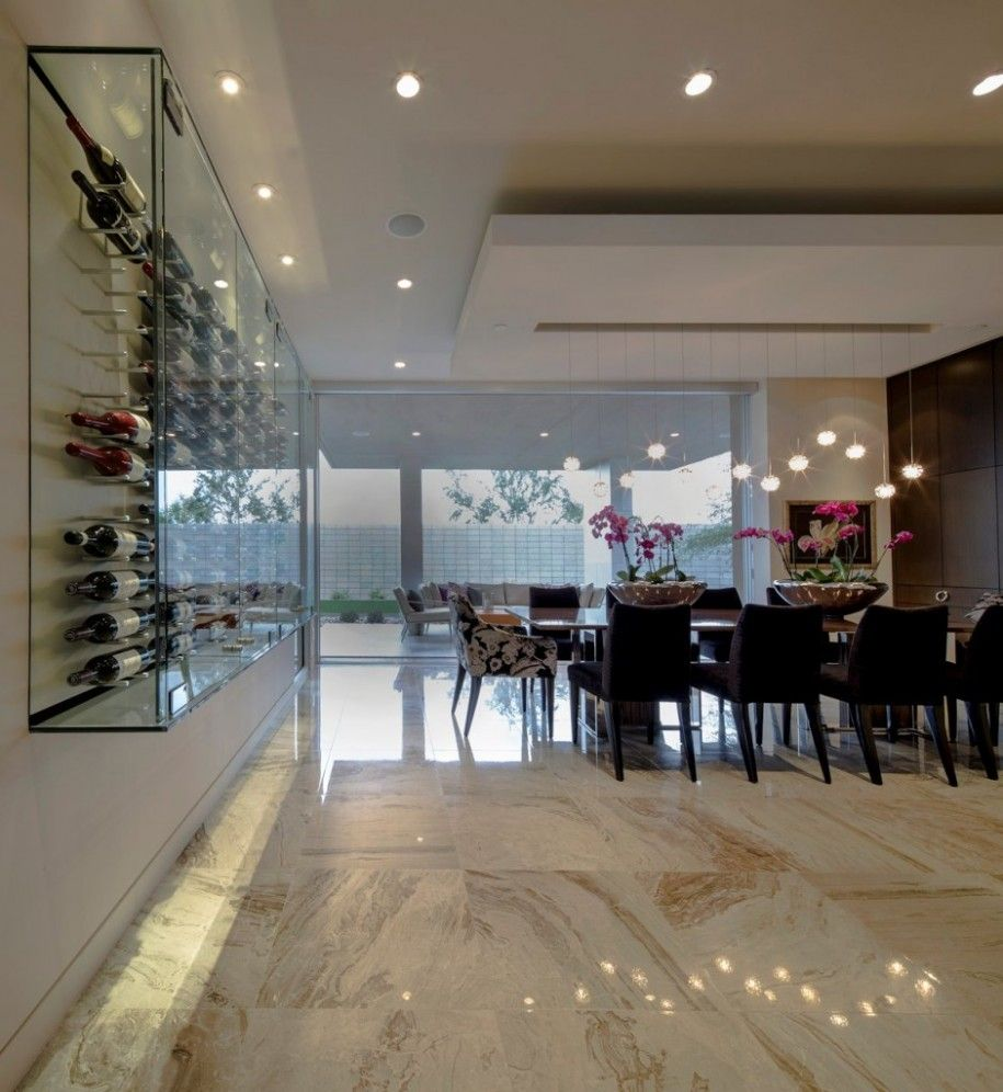 Attractive Modern Dwelling With Its Geometry House Design: Luxury Interior With Wall  Wine Cellar With Glass