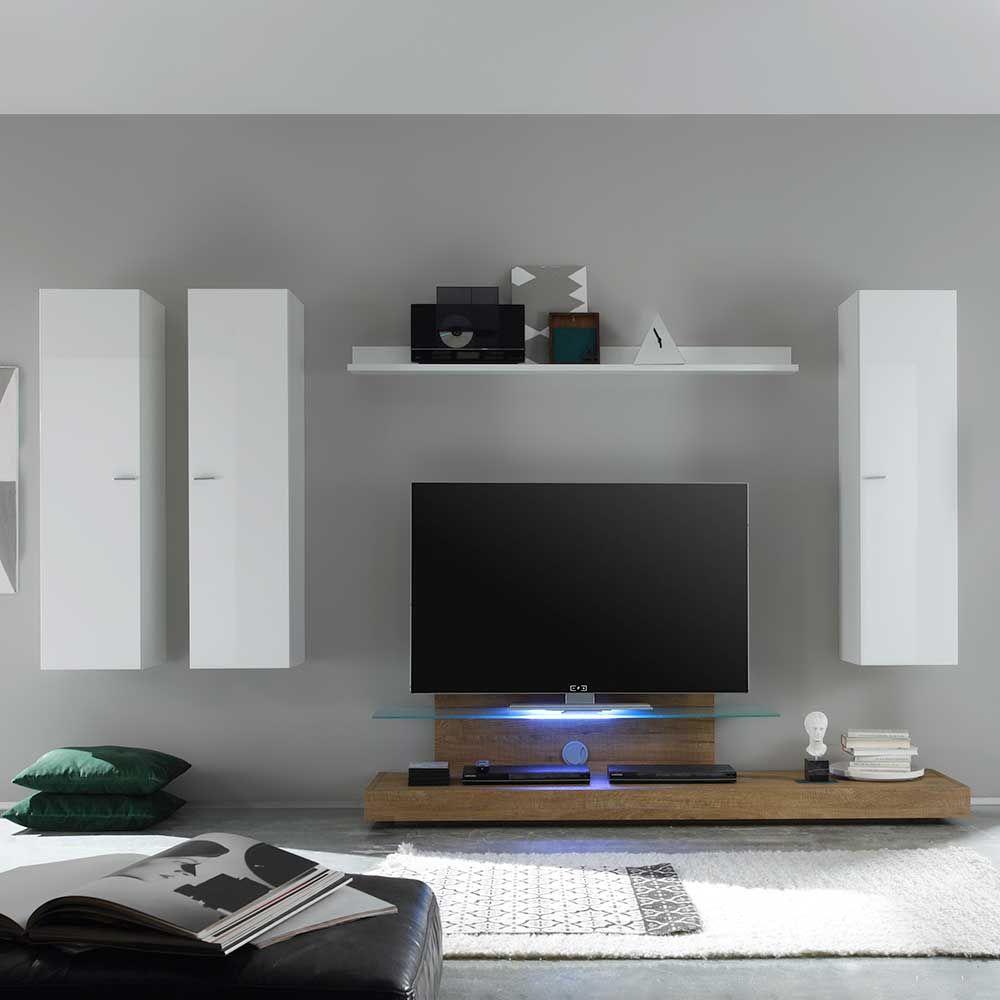 Wohnzimmer Schrankwand In Weiß Hochglanz Eiche Modern (5 Teilig) Jetzt  Bestellen Unter: