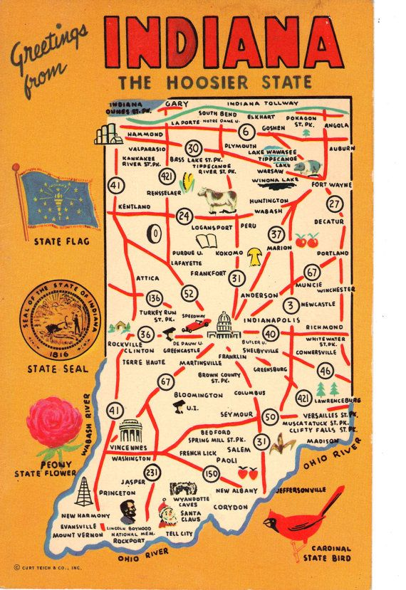 Indiana State Map postcard | Indiana in 2019 | Indiana state ... on transportation in indiana, butterflies in indiana, star in indiana, animals in indiana, weather in indiana, zip code map in indiana, usa map in miami, usa map in new jersey, dinosaurs in indiana, texas in indiana, home in indiana,