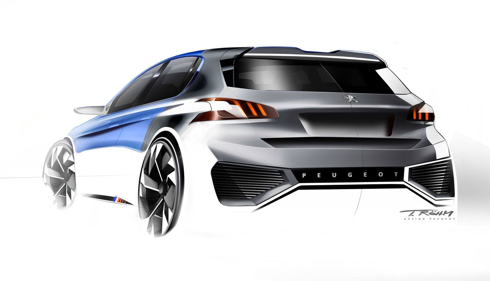 Peugeot 308 r hybrid concept design sketch by thomas rohm for Automotive exterior design jobs