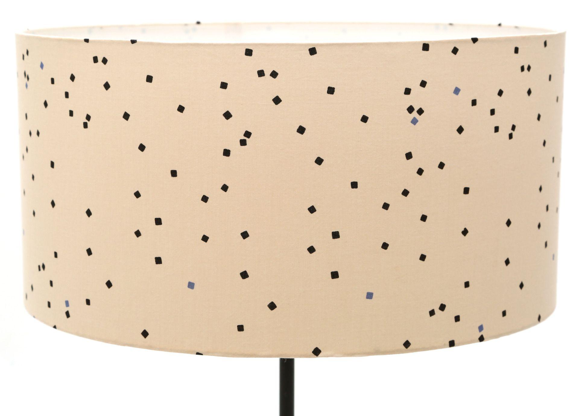 Abat-jour Ø40 / hauteur: 20cm  tissu fond beige carrés noirs et bleus