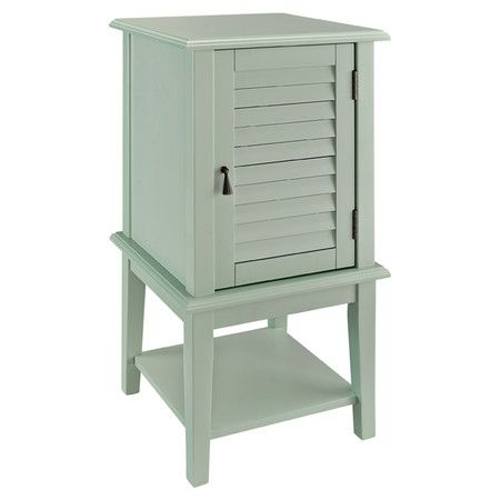 Aqua accent table with a louvered door and interior shelf ...