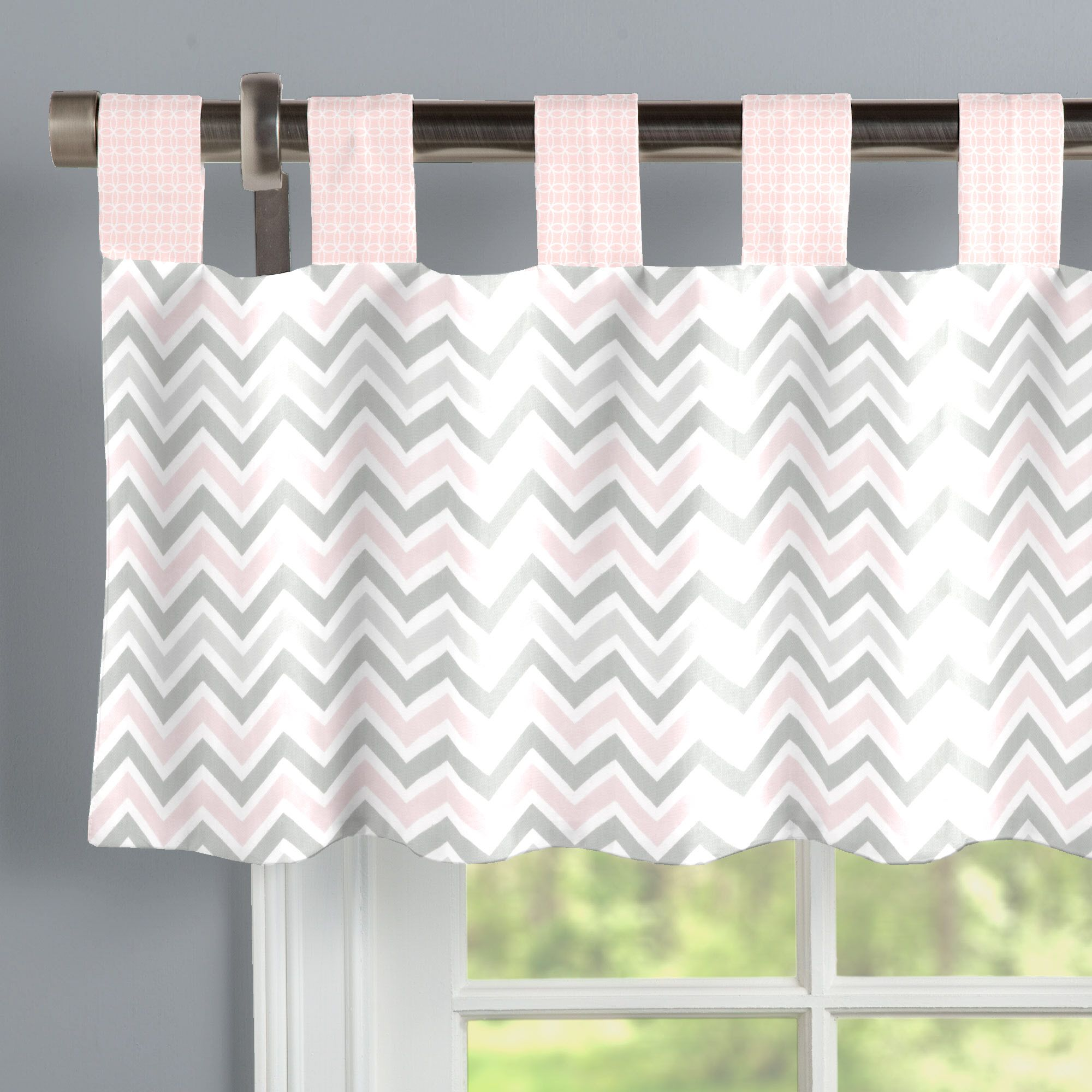 Pink And Gray Chevron Window Valance Tab Top Window Valance Pink And Gray Nursery Valance