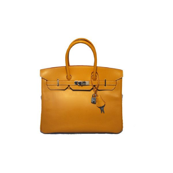 Pre-Owned Hermes Vache Naturalle 35cm Birkin Bag- ($17,500) ❤ liked on Polyvore featuring bags, handbags, brown, real leather purses, preowned handbags, yellow purse, leather handbags and genuine leather handbags