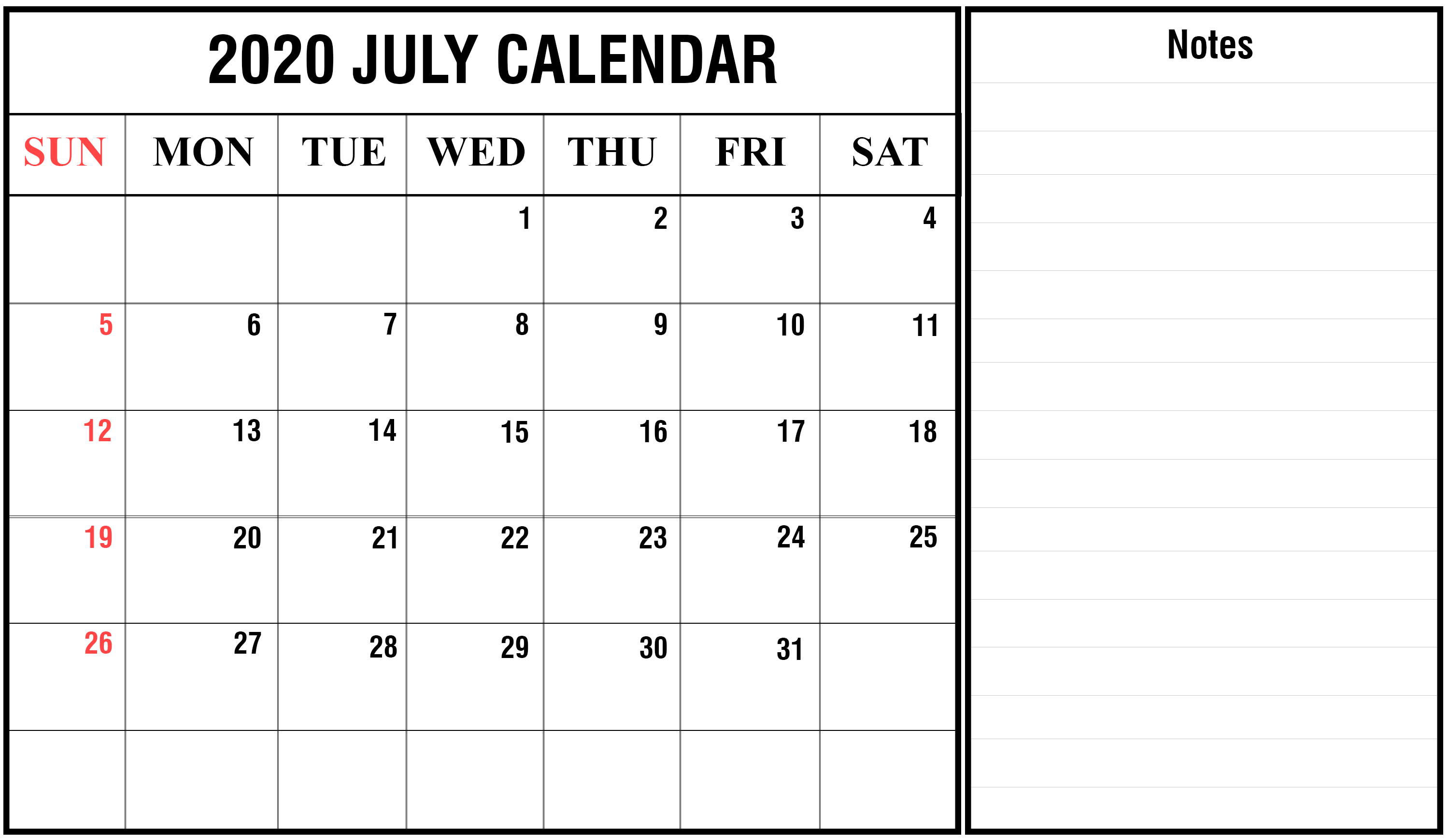 Blank July 2020 Calendar With Notes July July2020 July2020calendar 2020calendars Calendar Printables Printable Calendar Template March Calendar Printable
