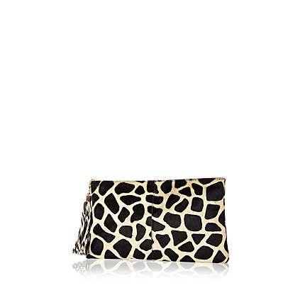 Black giraffe print pony skin clutch bag  100.00  13f20d7fb7e90