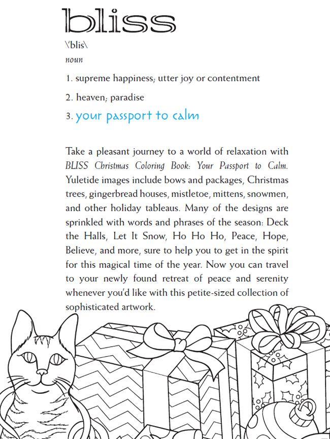 BLISS Christmas Coloring Book Your PASSPORT TO CALM By Jessica Mazurkiewicz Welcome To Dover Publications ABOUT BOOK