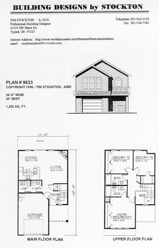 24' wide 1,250 sq feet...different stairs than other plans