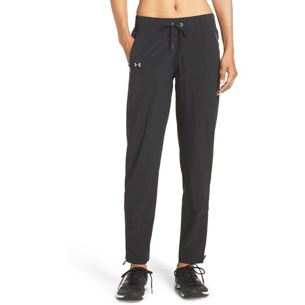 Women's Under Armour 'Run True' Water Resistant Pants (99 CAD) ❤ liked on Polyvore featuring activewear, activewear pants, under armour sportswear, under armour and track pants