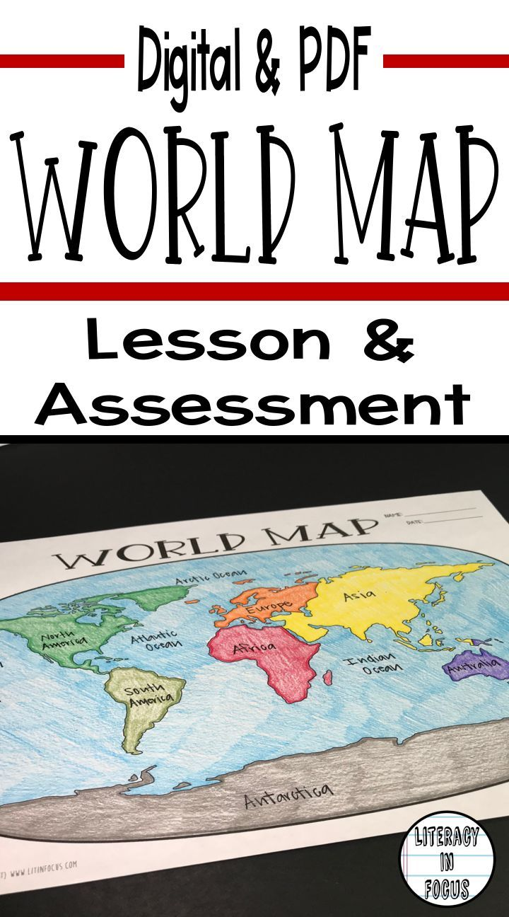 Digital And PDF World Map Lesson And Assessment Continents - World map oceans pdf