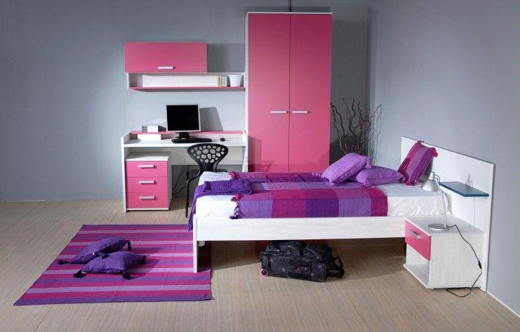 Stilvolle tief violett, Rosa und blau Kinder Schlafzimmer mit weißen - Schreibtisch Im Schlafzimmer