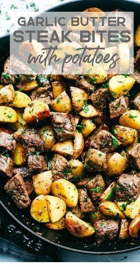 Garlic Butter Herb Steak Bites with Potatoes  #grilledsteakmarinades