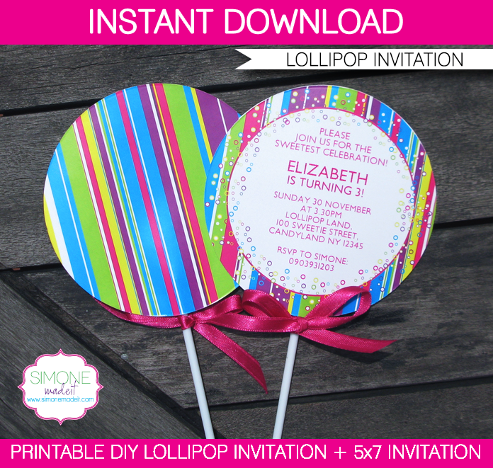 lollipop invitation - new in my candyland printable collection, Party invitations