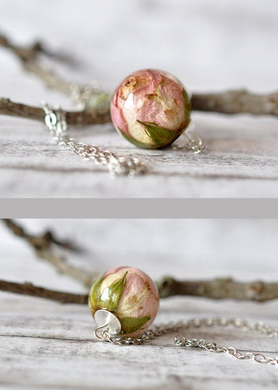 Real Light Pink Rosebud Resin Sphere Pendant Necklace - Dried Flower Resin Jewelry - Real Rose Necklace #stufftobuy