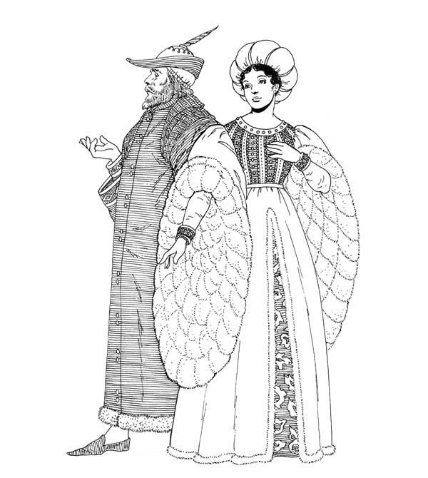 Middle Ages Fashion Style Coloring Page Middle Age Fashion Middle Ages Coloring Pages