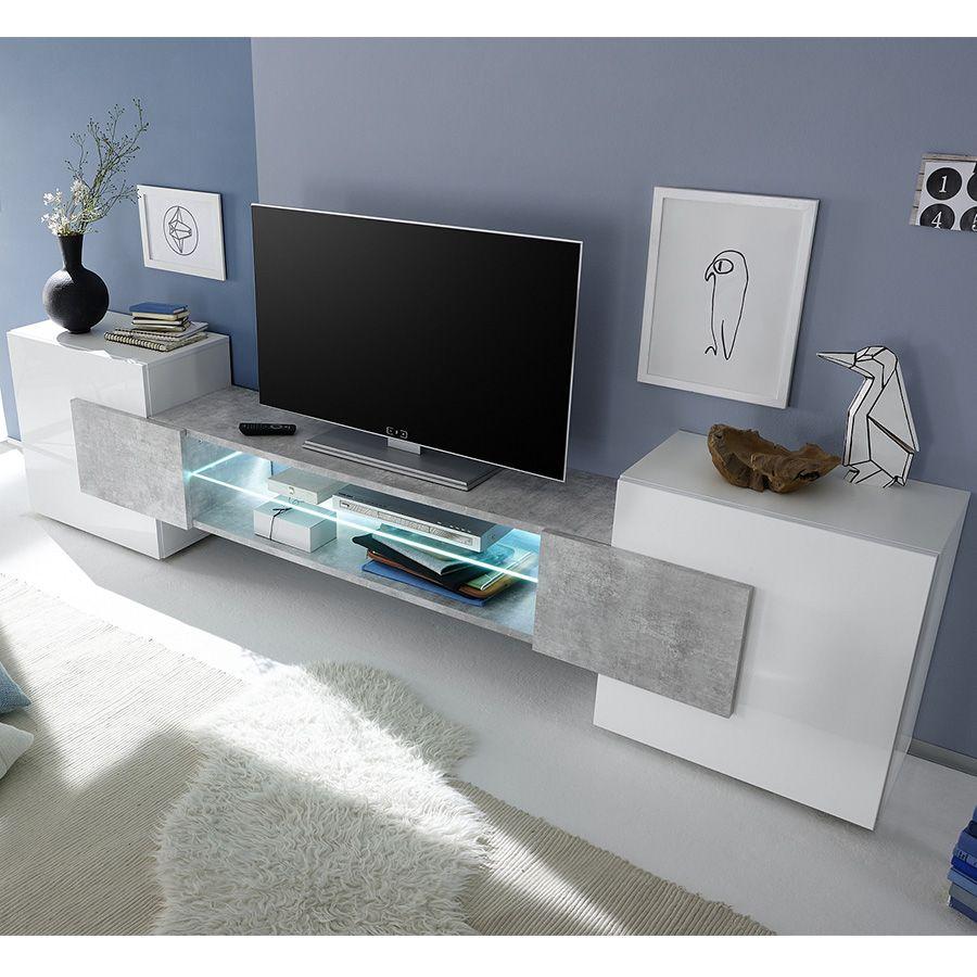 Meuble Tv Design Blanc Laque Brillant Et Effet Beton Argos