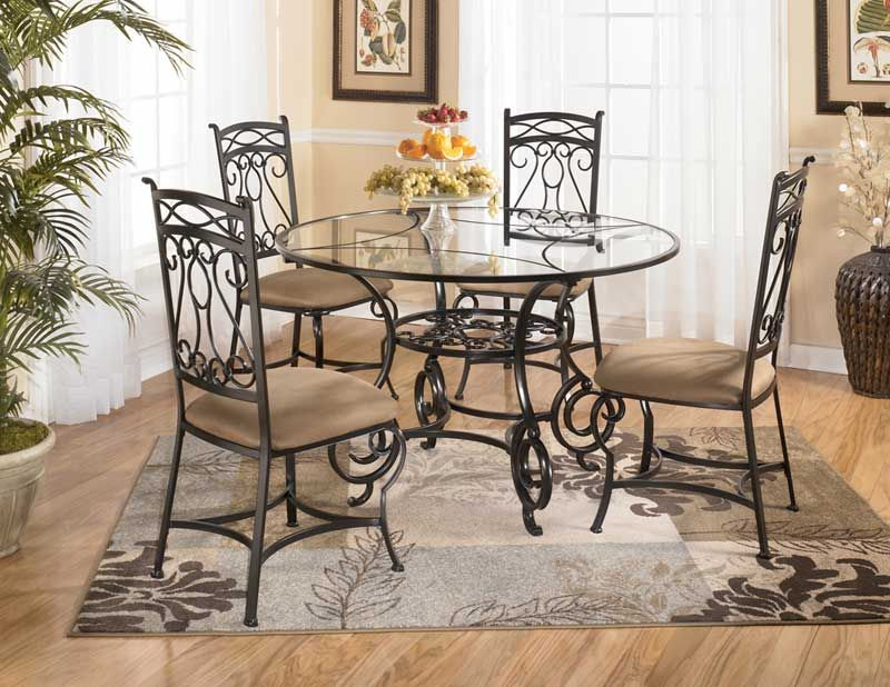 Circular Laminated Glass Dining Table With Iron Legs  Kitchen Fascinating Decorating Dining Room Wall Review