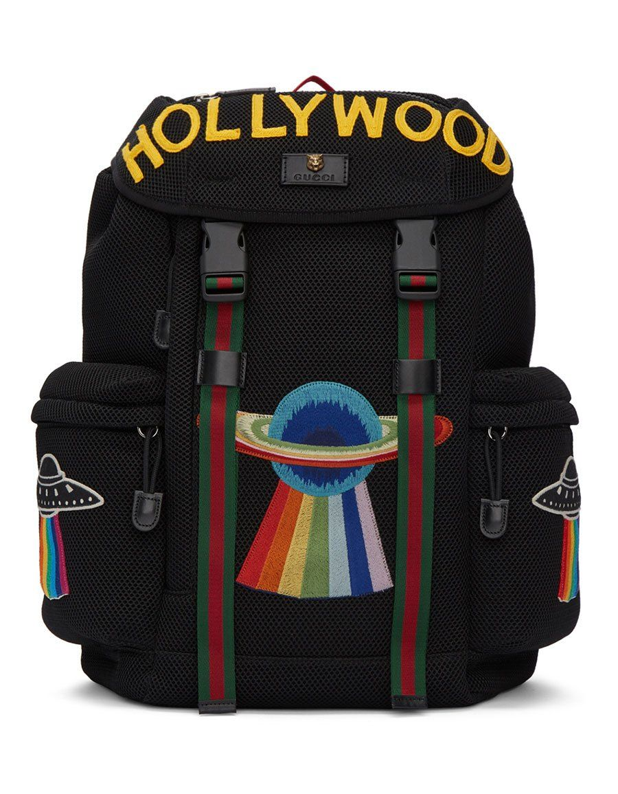 cedb0b0bd326a0 GUCCI Black Mesh 'Hollywood' Backpack Mesh Backpack, Backpack Bags, Drawstring  Backpack,