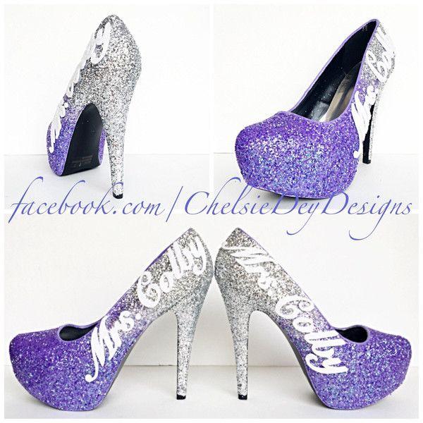 e7d4c2b1e90 Purple Glitter High Heels Lilac Lavender Silver Ombre Pumps Wedding ...