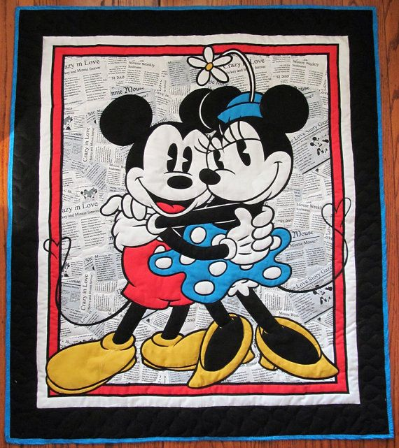 Mickey & Minnie Mouse Quilted Panel Quilt. Disney quilt   Quilts ... : minnie mouse quilt panel - Adamdwight.com