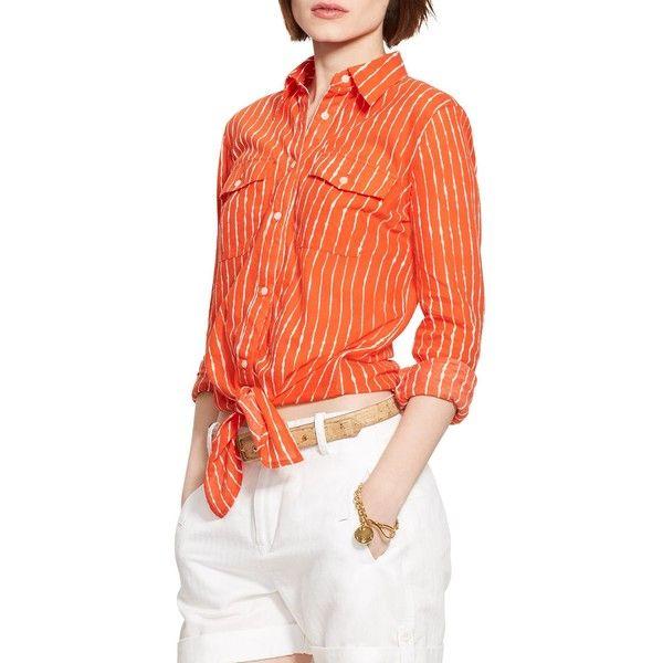 9c5ecaf0592 Lauren Ralph Lauren Tie Front Stripe Shirt ($58) ❤ liked on Polyvore