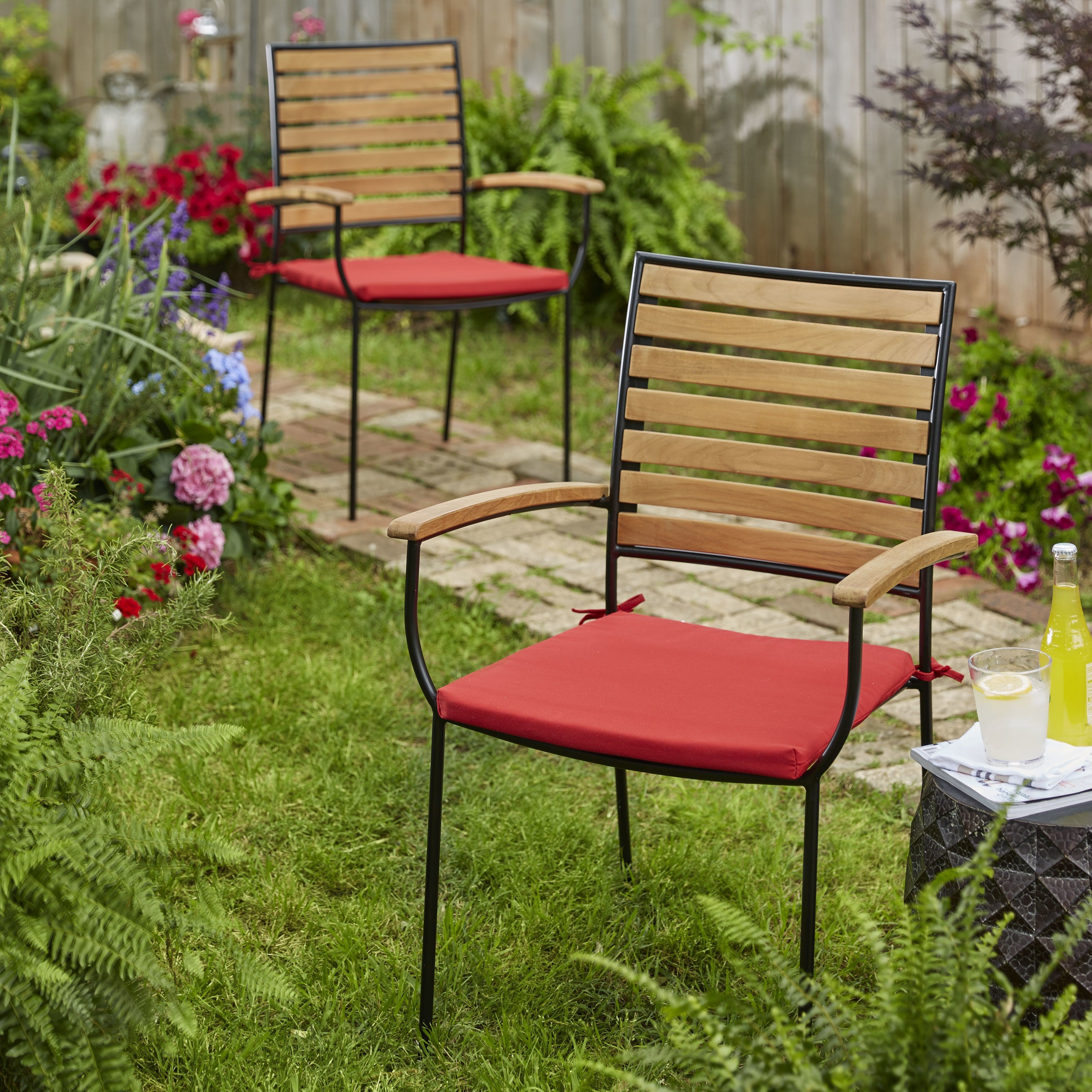 Kokomo Teak Dining Chair Cushion Set With Sunbrella Fabric (Jockey Red)  (Acrylic, Solid), Outdoor Cushion Part 85