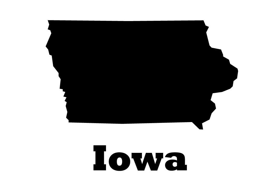 Iowa State Vinyl Wall Decal Map Silhouette Vinyl Wall Decoration