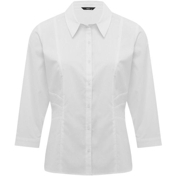 M&Co White Button Down Shirt ($31) ❤ liked on Polyvore featuring ...