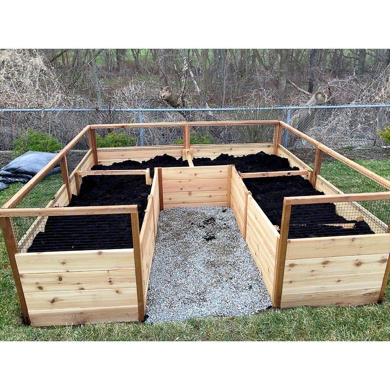 8 ft x 8 ft Cedar Raised Garden Bed with Deer Fence Kit