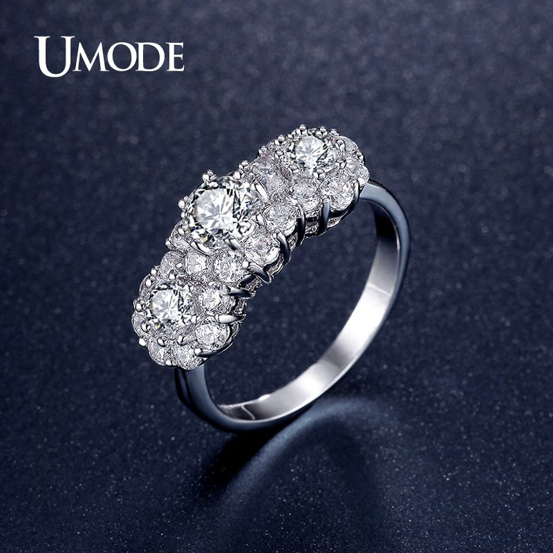 UMODE Fashion Jewelry For Women Three Stone Engagement Ring Wedding Rings Rhodium Plated Bands