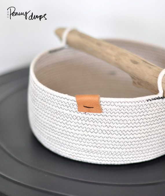 Caddy, basket, coiled rope, tool storage, modern home decor, driftwood handle, n... - #basket #caddy #coiled #decor #driftwood #modern #storage - #Blanca'sModerneWohnkultur