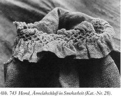 extant smock - honeycomb pleating - An extant fragment of a shirt from the find at the Alpirsbach Monastery dating from the 16th century documents the usage of a honeycomb-like stitch to control the pleating.