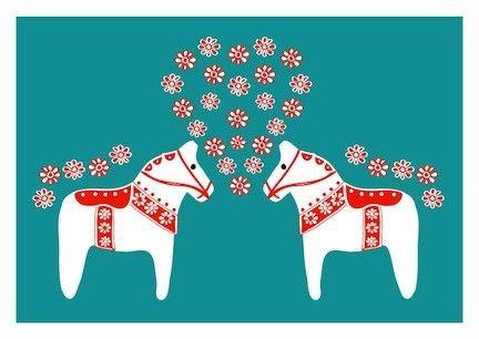Lovely Dala Horse in LOVE - Teal Red - Scandinavian Art Print Pop Art Wedding gift Kids room Children Decor Nursery Art Home garden Decor. $18.00, via Etsy.