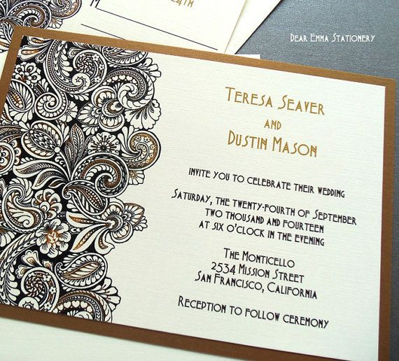 Gold Paisley Wedding Invitations Black and White and gold metallic