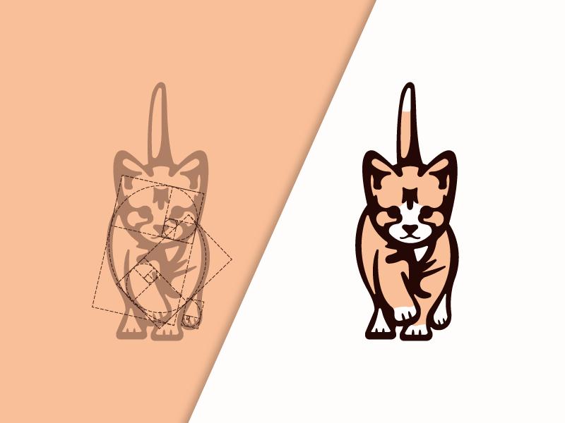 Cat Logo Mark Using Golden Ratio